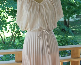 Vintage 1970's Dusty Rose Gown With Pleated Skirt