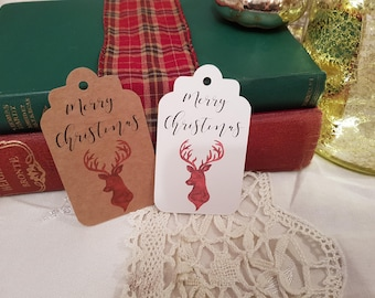 Reindeer Tags - Christmas Tags - Holiday Tags - Christmas Gift Tags - Merry Christmas Tags - Festive Gift Tags - Winter Tags - Set of 10