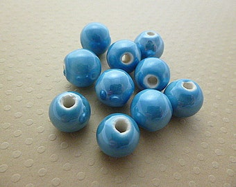 Set of 10 Sky Blue ceramic round beads 12mm - PCR12 0329