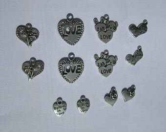 12 charms love, silverplate