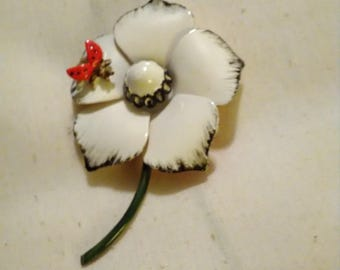 Original by Robert  white flower brooch with Ladybug.