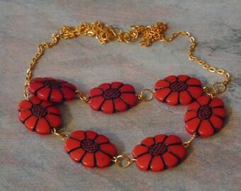 Red Black Oblong Flower Bead Multi Strand Adjustable Golden Necklace