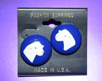 Hand Painted Dorest Sheep Head Royal Blue Post Earrings