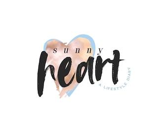 Rose Gold Logo Design | Heart Logo Design | Blue Peach Logo | Wordpress Theme Logo | Blogger Logo Design | Pastel Pink and Blue Logo Design