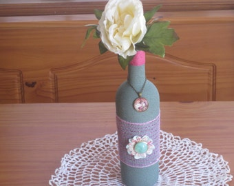 Green Altered Decorated Wine Bottle Home Decor - Altered Wine Bottle Decor - Recycled Wine Bottle Decor