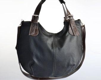 Leather HOBO Bag, Leather Shoulder Bag, Cross Body Handbag, Large Hobo, Leather Purse, Everyday Shopper Bag, Leather Bag, Black/Brown Hobo