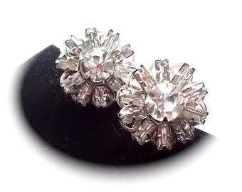 Vintage Rhinestone Earrings Icy White Bridal Screw Back 1950s
