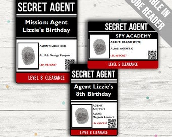 Secret Agent ID Card (Spy ID Badge). Ideal For A Secret Agent Party. Editable PDF. Instant Download.