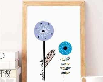 Make a wish quote prints, Digital Download Wall Art Print, Instant Download Printable Art, Quote Print, Nursery Wall Art, Minimalist Print 1