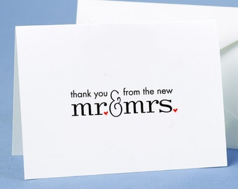 50 X Wedding Thank You Cards With Envelopes From The New Mr & Mrs Stationery Supplies