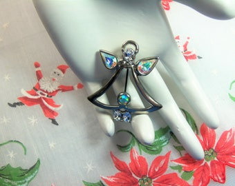 Retro Polished Silver Tone Clear and Aurora Borealis Rhinestones Christmas Angel Pin Brooch