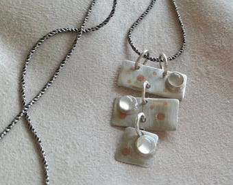 Mixed Metal (Sterling Silver Copper Inlay) Triptych Pendant with White Moonstones