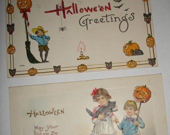 2 Vintage 1914 Halloween Postcards in frames!