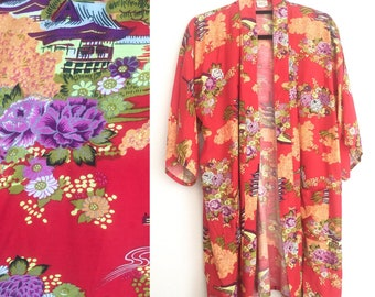 Vintage, Red, Floral 70s Kimono // 1970s, Boho Chic, Swim Cover, Blouse, Top, One Size Fits Most