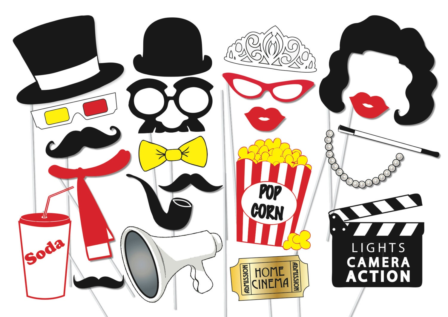 Old hollywood Photo booth Party Props Set 23 Piece PRINTABLE