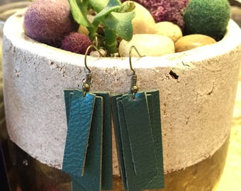 Faux Leather Layered Dangle Earrings
