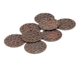 Copper Earring Finding, 20 Copper Brass Textured Round Charms (16mm) K049