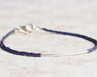 Purple Seed Bead Bracelet, Stacking Bracelet, Minimalist Bracelet, Delica Bracelet, Beaded Bracelet, Dainty Bracelet, Simple Bracelet