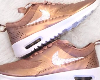 Sale - Nike Air Max Thea - Bling Nike shoes - Rose Gold-Nike Swarovski c6ea5c7b2c