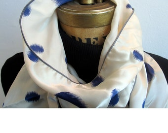Tuxedo Scarf -Blue Silk Scarf - silk aviator scarf -white and blue skinny scarf -silk charmeuse - Le Beau Cou Scarves