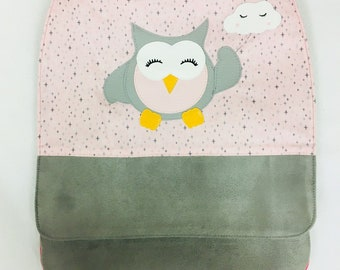 Bag has back kids personalized - OWL - suede cotton - pink Fuchsia grey