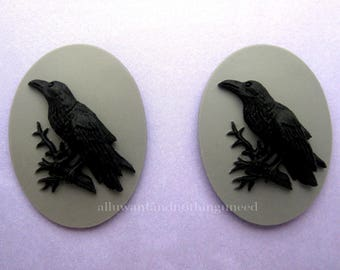 2 Gothic Crow Raven Blackbird Black Bird Witch Wiccan Voodoo Goth Emo Black on Gray Grey 40mm x 30mm Resin CAMEOS LOT for Costume Jewelry
