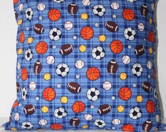 Decorator Envelope Pillowcover, Kids Designer Multi Sport Fabric, Blue/Multi, 100 % cotton,  20 x 20 in, Envelope opening in back,