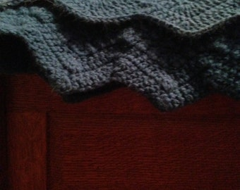Cerulean Blue Waves Crocheted Blanket