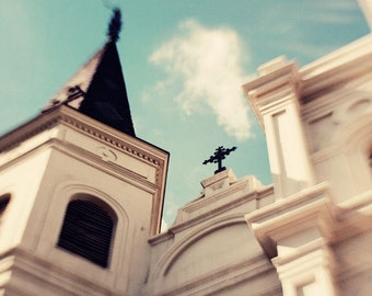 New Orleans Art, french quarter, jackson square, blue home decor, church architecture photograph, beige decor,  St Louis Cathedral no 2