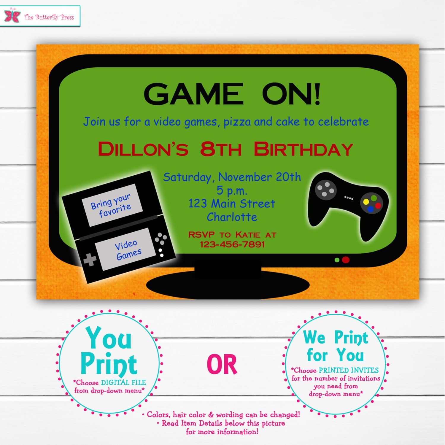 Video game birthday party invitation video game party