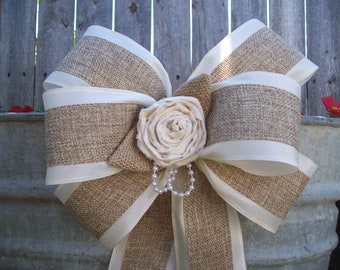Burlap and Satin Bows, Burlap Wedding, Aisle Decor, Rustic Wedding, Country Chic, Cottage Chic Wedding, Pew Bows