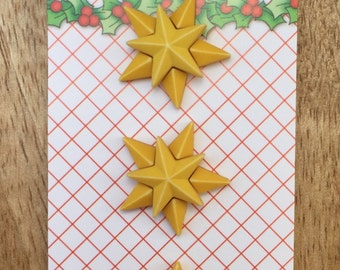 Star Buttons, Christmas Star Buttons, Carded Buttons by Buttons Galore, Holiday Fun Collection, Set of 3, Shank Back, Embellishments