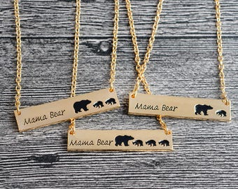 Mama Bear Necklace, Gold Bar Necklace, Dainty Necklace, Delicate Necklace