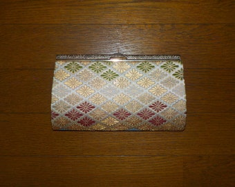 Vintage clutch bag, Brocade fabric, Silver top, Floral motifs
