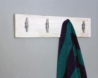 Nautical Boat Cleat Rack | Pool Towel Rack | Dock Cleat Hooks | Distressed Lake House Decor | Beach Decor | Nautical Decor | Entryway Hanger