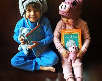 "Made to Order  crochet Piggie Hat, ""Piggie and Gerald"", Mo Willems"