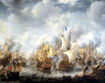 Battle of Scheveningen Painting by Jan Abrahamsz Beerstraaten Art Reproduction