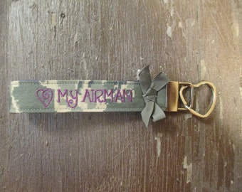 Military Wristlet, Air Force Name Tape Key Chain, Air Force Military Keychain, Air Force Key Fob, Love my Airman with Bow
