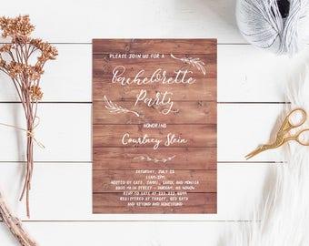 Bachelorette Party Invitation. Rustic bachelorette printable invitation, bachelorette party invite. INSTANT DOWNLOAD digital pdf file
