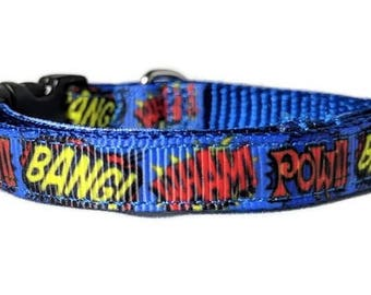 Comic Book Sounds - Toy Dog Collar / Cat Collar - 3/8 inch wide