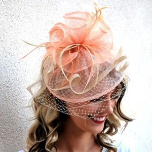 Pink Fascinator, Womens Tea Party Hat, Hat with Veil, Church Hat, Kentucky Derby Hat, Fancy Hat, Tea Party Hat, wedding hat, British Hat
