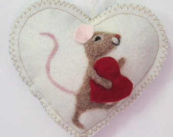 I Love You Heart,  needle felted mouse carrying a large heart, scented heart, personalised with name