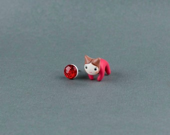 Avengers marvel superhero cat earrings cute polymer clay SCARLET WITCH kitty post stud earring kawaii geek fake gauge plug stud earrings