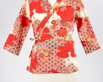 Cross over kimono top in japanese fabric PIVOINE red