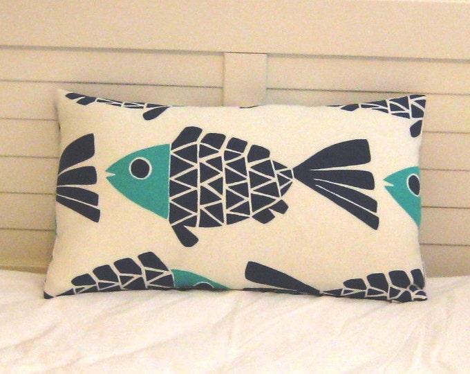 Go Fish Navy and Aqua Fish Design Indoor Outdoor Pillow Cover