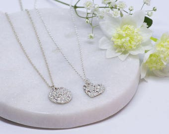 Fine Silver Daisy necklace, gift for her, valentines gift, Bridesmaids gift, flower girl gift, silver clay necklace, fine silver necklace