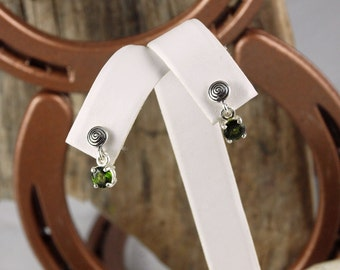 Sterling Silver Dangle Earrings - Chrome Diopside Drop Earrings - 5mm Natural Chrome Diopside Drops on Sterling Silver Posts