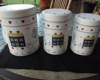 Vintage Tin Set, Stacking Tins, Set of 3, House Design, Nice Condition.
