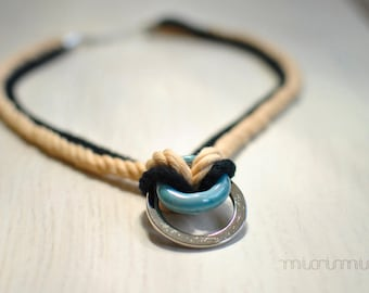 Eco friendly rope statement necklace.