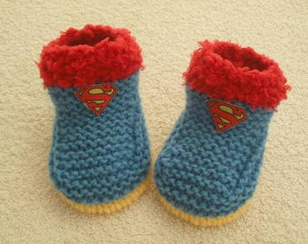 Hand knitted baby boys booties